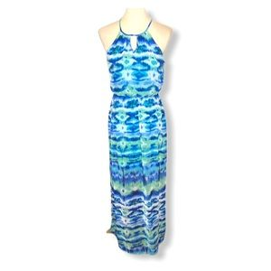 Lily Rose Blue Green Ikat Halter Maxi Dress Sz M